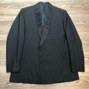 Vintage 1960s Black Double Breasted Tuxedo Jacket